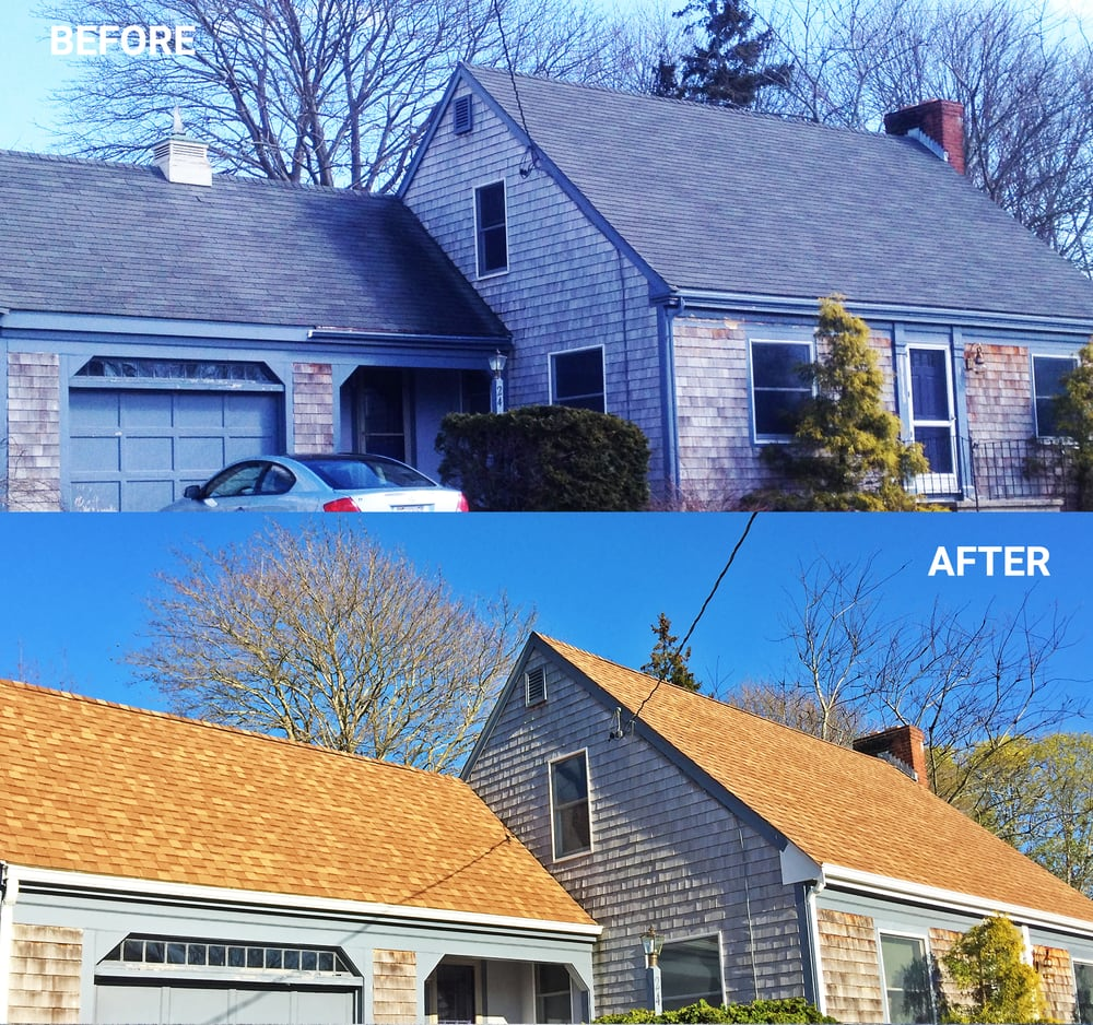 Before And After Photos Of A Roof And Gutters Replacement