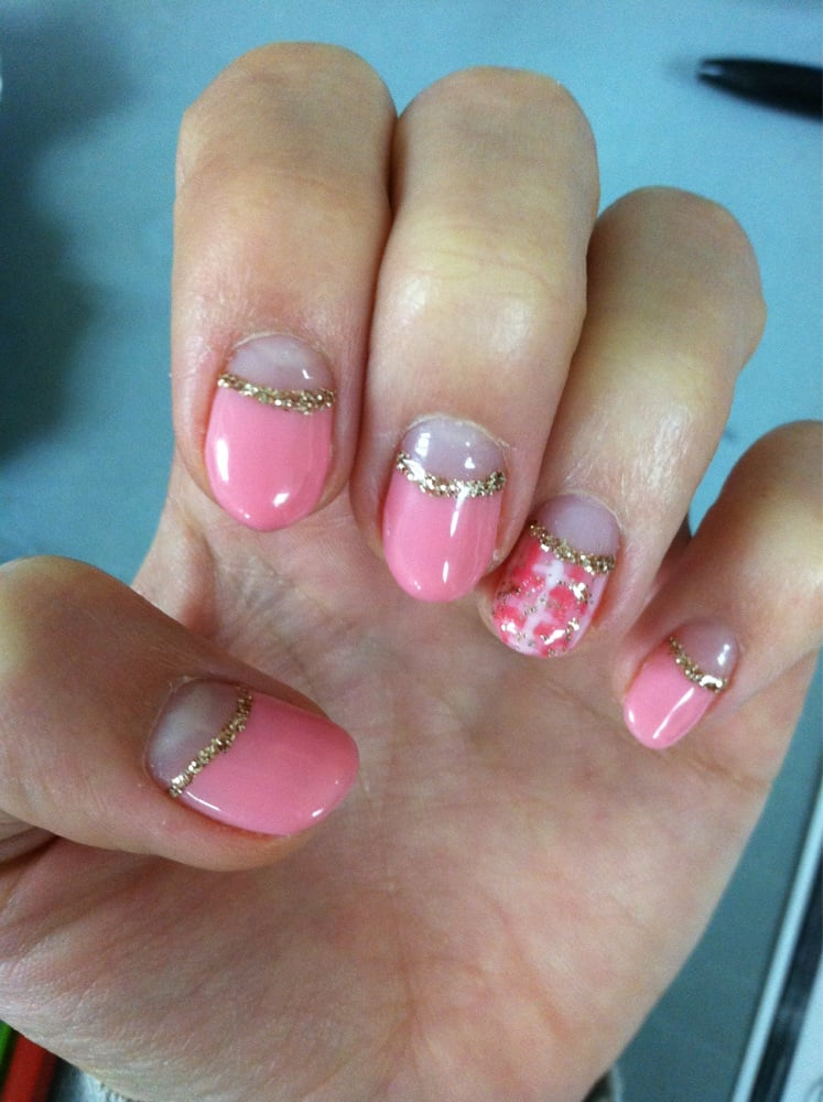 Pink reverse French w glitter line & plaid design. $56 before tip ...