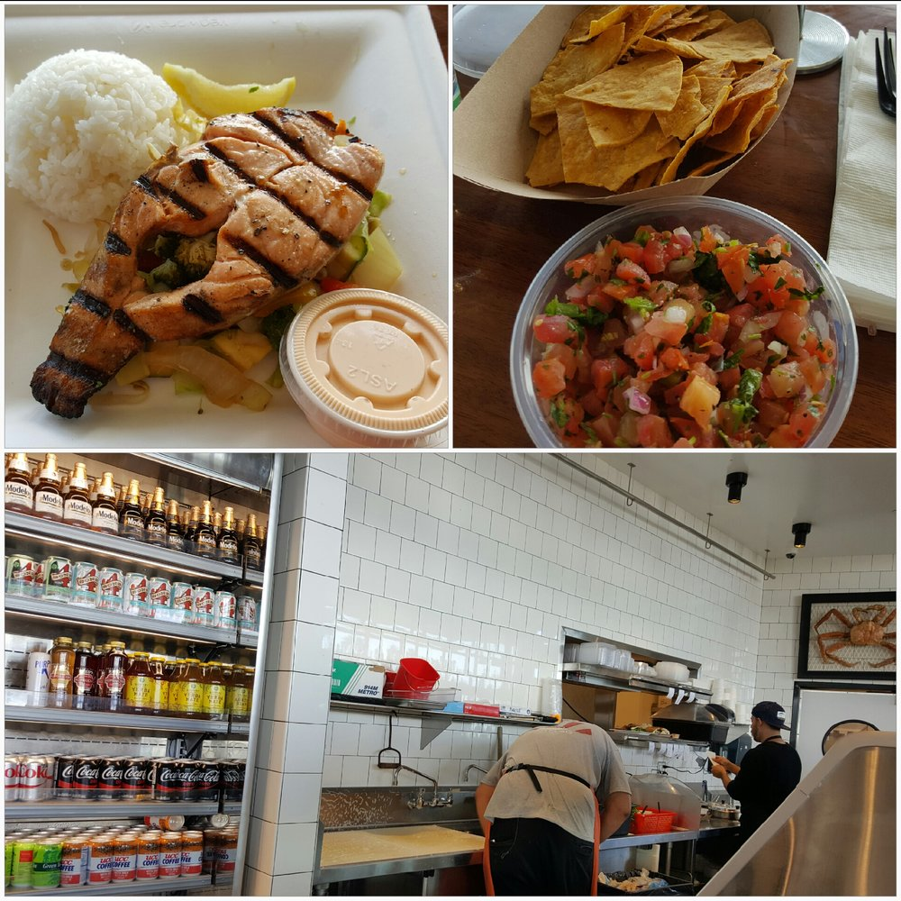 grilled salmon bowl chips salsa and a hard working employee yelp photo of bear flag fish company huntington beach ca united states grilled