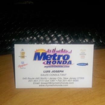 Photo Of Metro Honda   Jersey City, NJ, United States. Business Card For