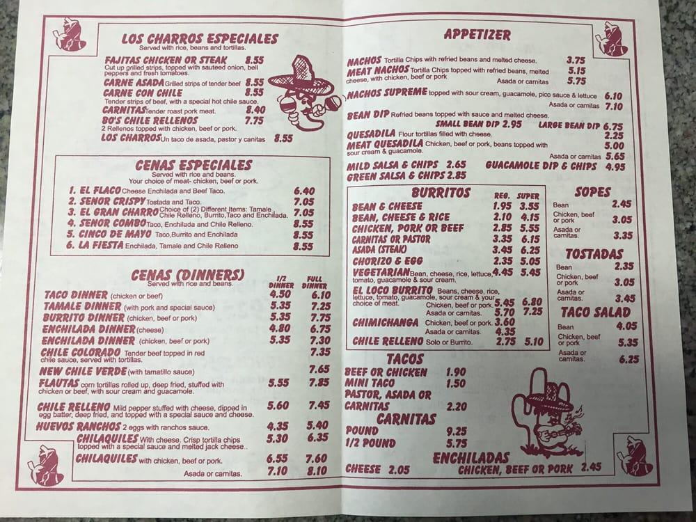 Los Charros Restaurant Menu