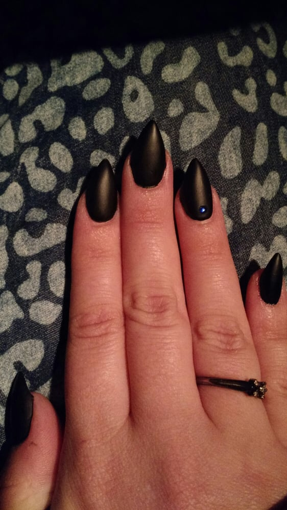 Matte black stiletto nails - Yelp