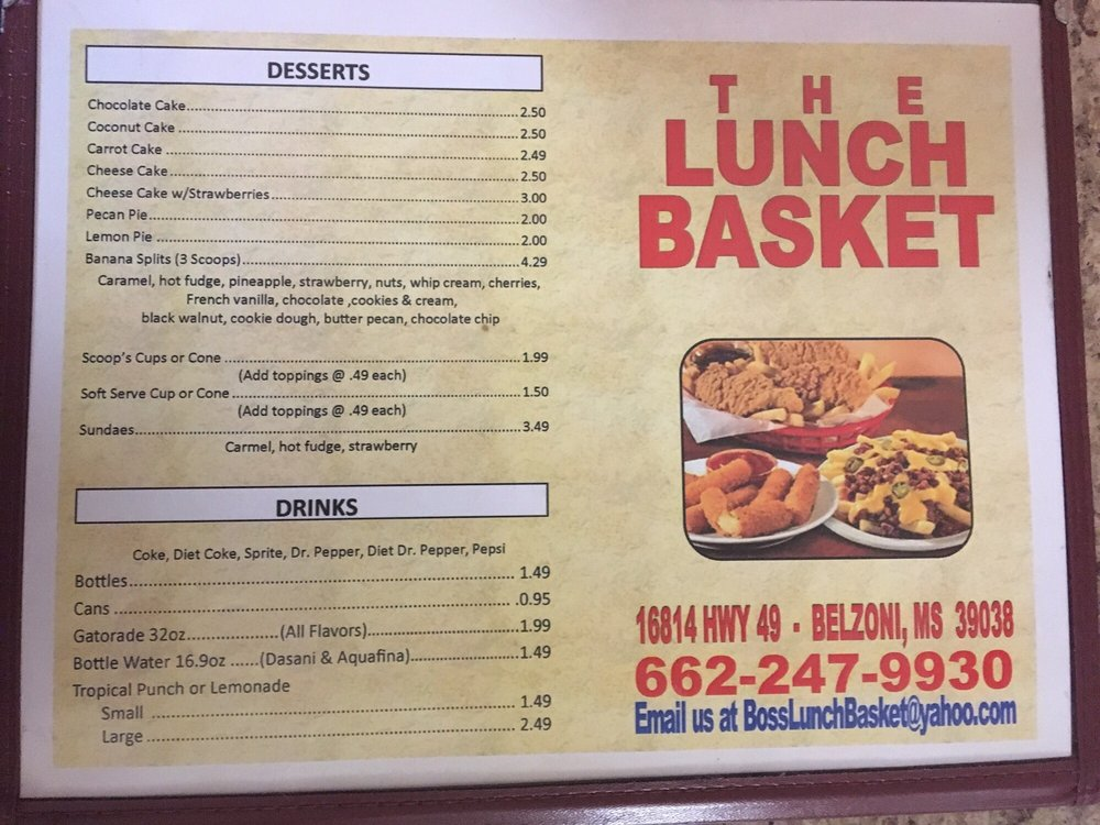 The Lunch Basket Express: 16814 US Hwy 49, Belzoni, MS