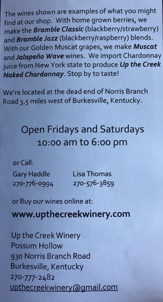 Up The Creek Winery: 932 Norris Branch Rd, Burkesville, KY