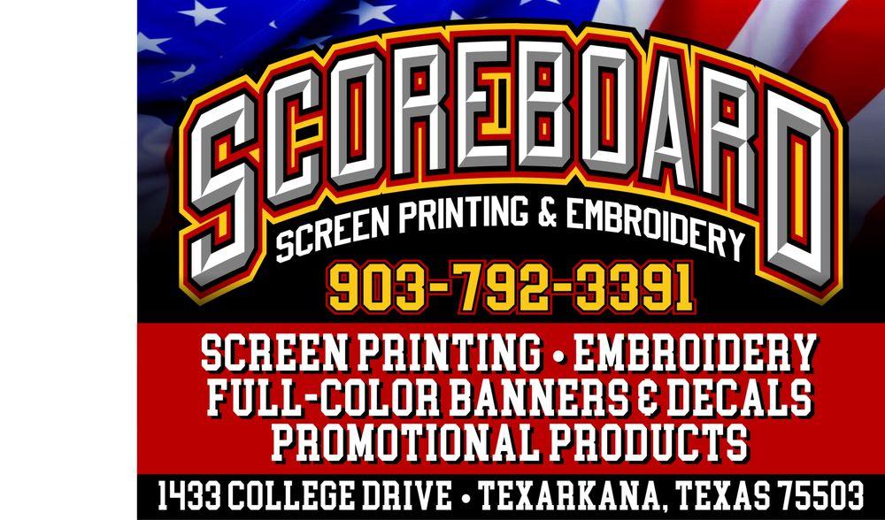 Scoreboard Screen Printing & Embroidery: 1433 College Dr, Texarkana, TX