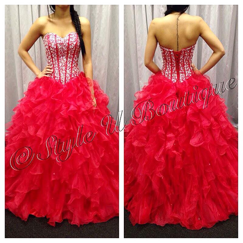 red ball gown, quinceanera, sweet sixteen, prom gown, consignment - Yelp
