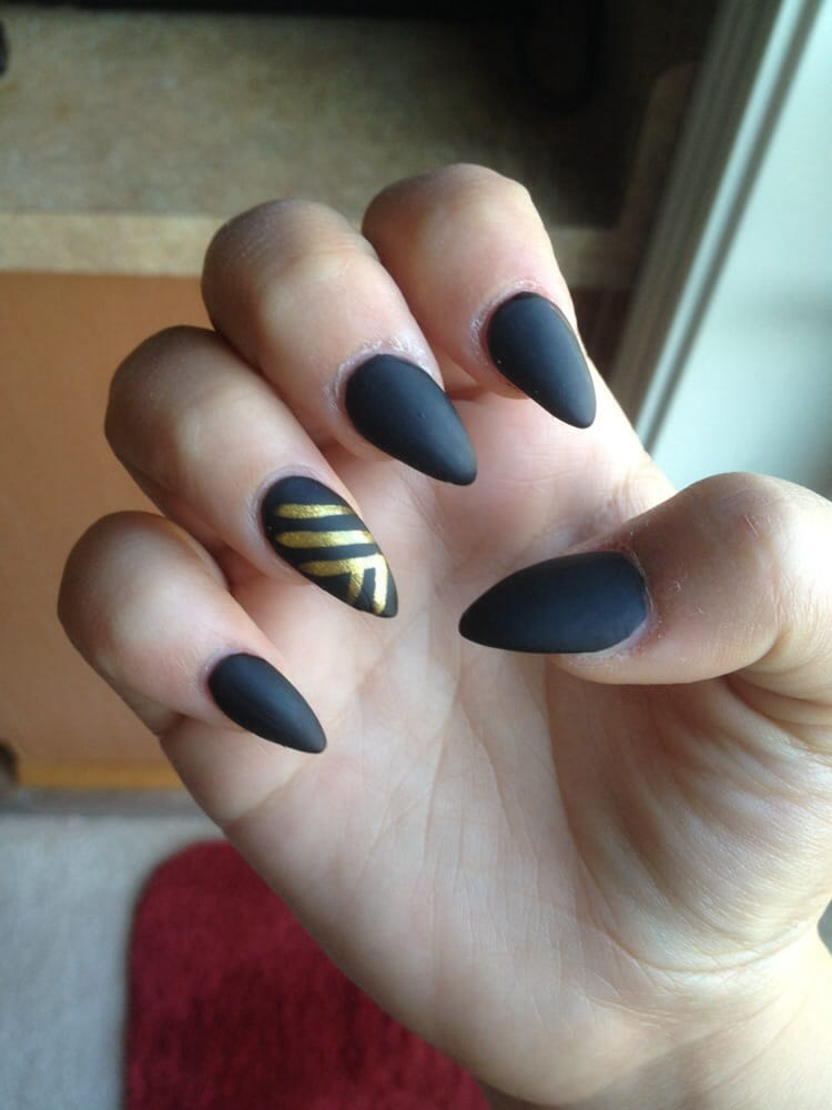 Acrylic nails with matte black and gold. Only cost me $30! - Yelp