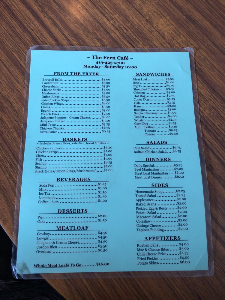Fern Cafe: 452 E Sandusky St, Findlay, OH