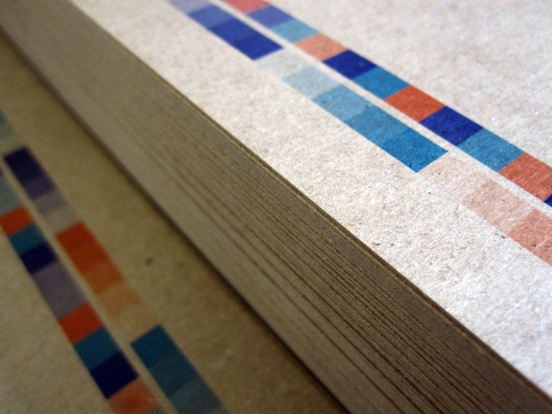 We print a lot on chipboard, a 100% recycled, heavy weight paper ...