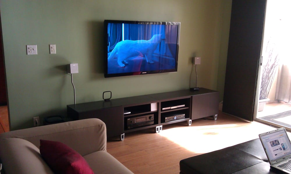 55 samsung lcd flat panel tv over ikea tv stand in los angeles ca yelp. Black Bedroom Furniture Sets. Home Design Ideas
