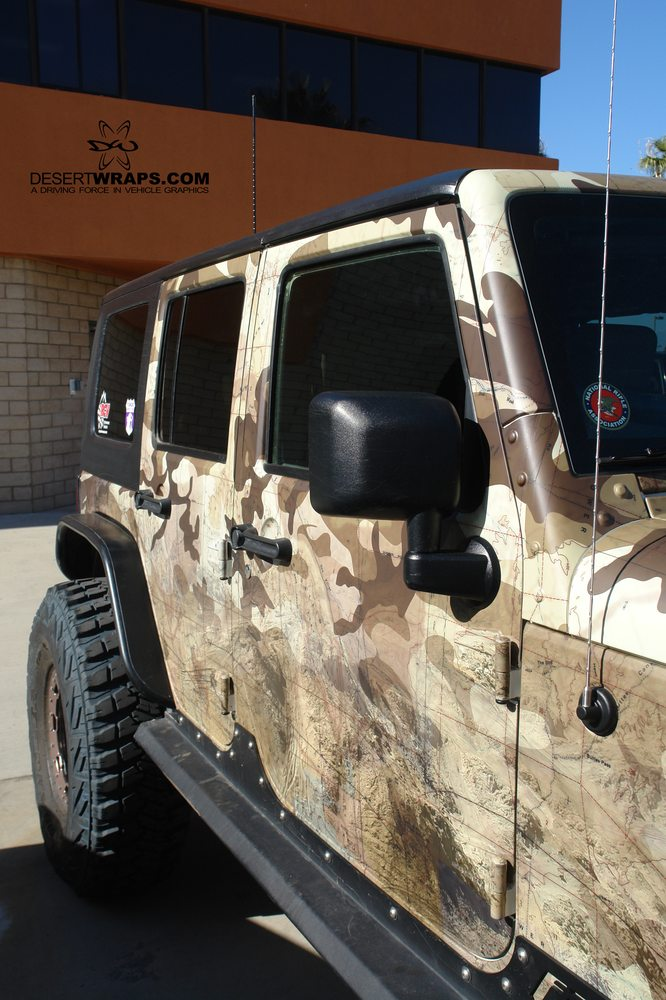 Custom Designed Camo Wrap With Integrated Topographic Map