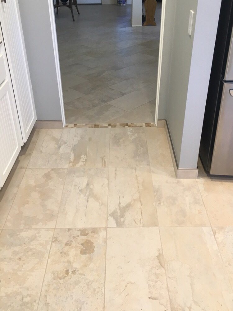 Transition From Same Tile Installed 5 Years Ago Colour Lot Was