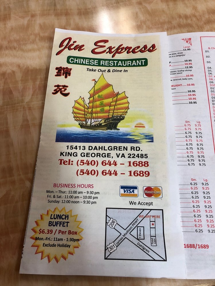 Jin Express: 15413 Dahlgren Rd, King George, VA