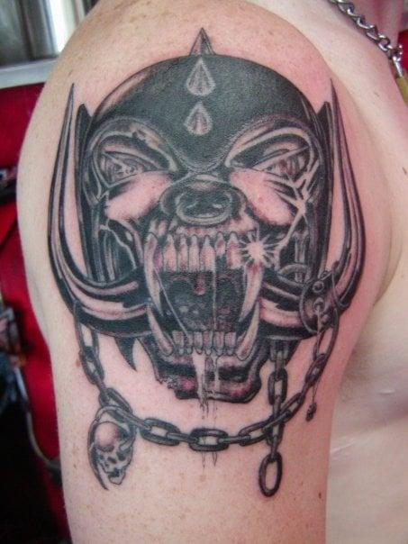 Motorhead logo on shoulder black n grey by doc bones for Tattoo santa rosa