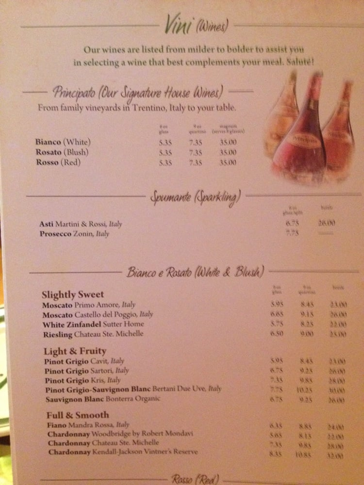 Menu For Olive Garden: Wine Menu }