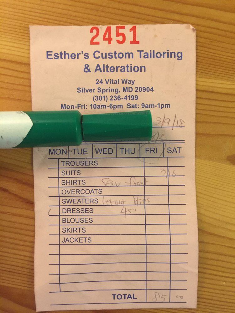 Esther's Tailoring & Alterations: 24 Vital Way, Silver Spring, MD