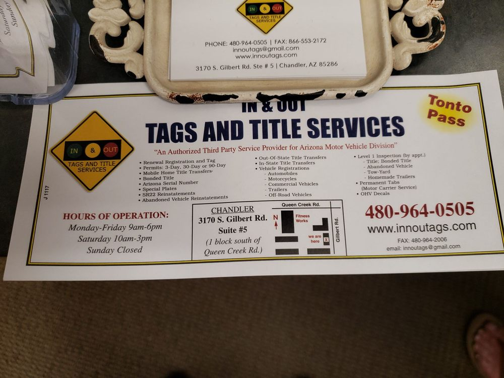 In & Out Tags & Title Services: 3170 S Gilbert Rd, Chandler, AZ