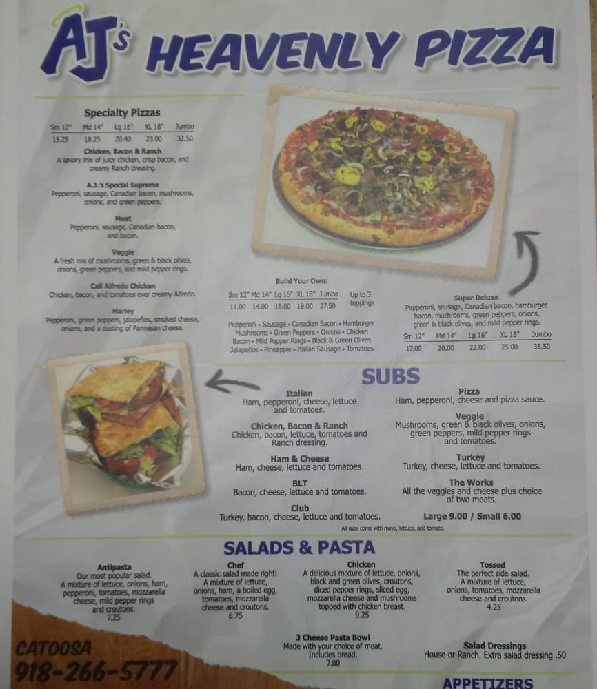 Aj's heavenly pizza coupons