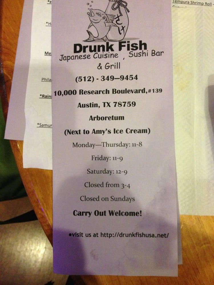 Menu front yelp for Drunken fish menu