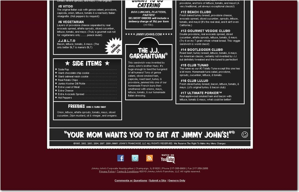 graphic regarding Jimmy Johns Printable Menu called Jimmy Johns - 12 Critiques - Delis - 143 N Harrison, East