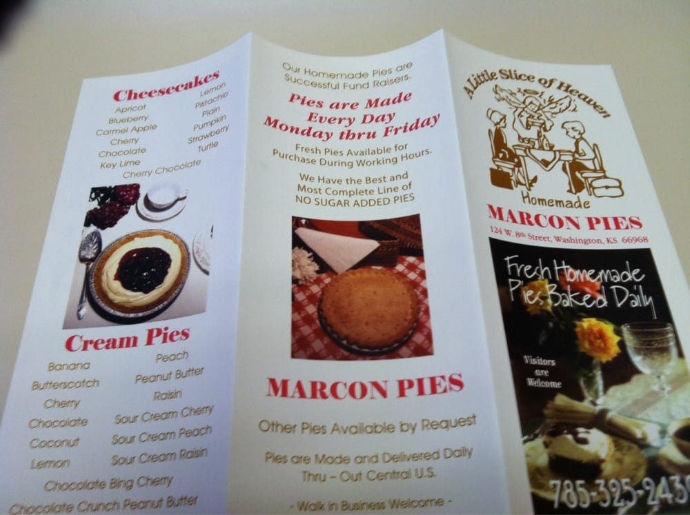 Marcon Catering & Pies: 124 W 8th St, Washington, KS
