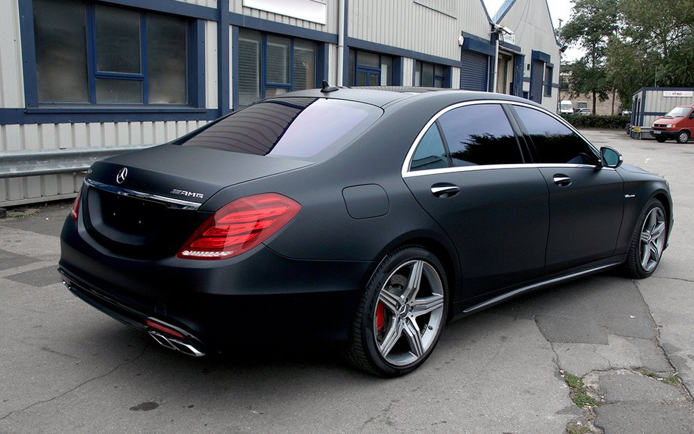 Mercedes s class amg 3m satin black wrap and limo dark for Mercedes benz window tint