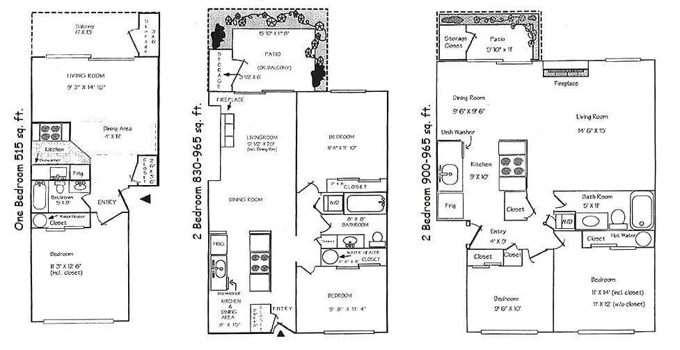 2 bedrooms have washer/dryer in the hallway. 1 bedroom the washer ...