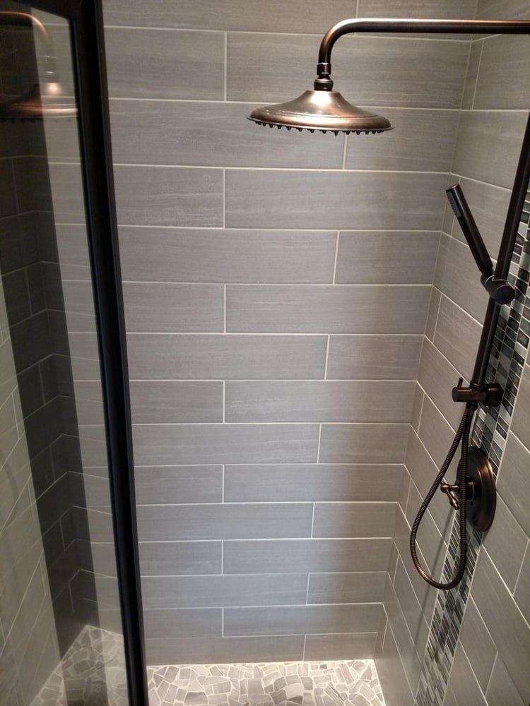 Removed fiberglass shower base surround installed - Custom fiberglass shower base ...