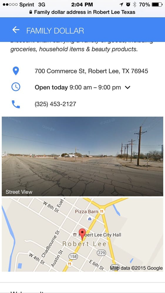 Family Dollar: 700 Commerce St, Robert Lee, TX