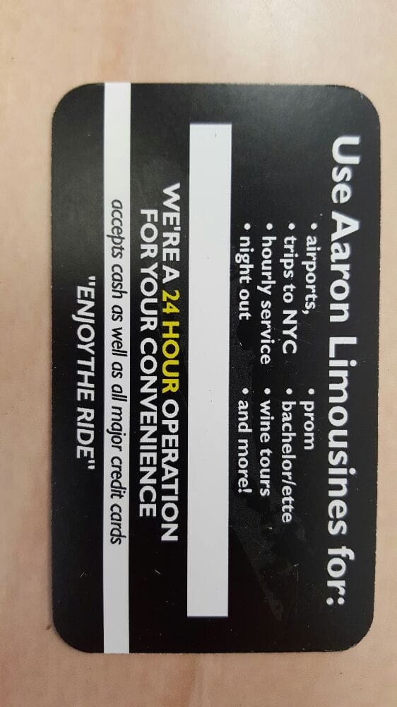 Back of the new business card courtesy of joe cestare at sign o photo of aaron limousines wantagh ny united states back of the new reheart Choice Image