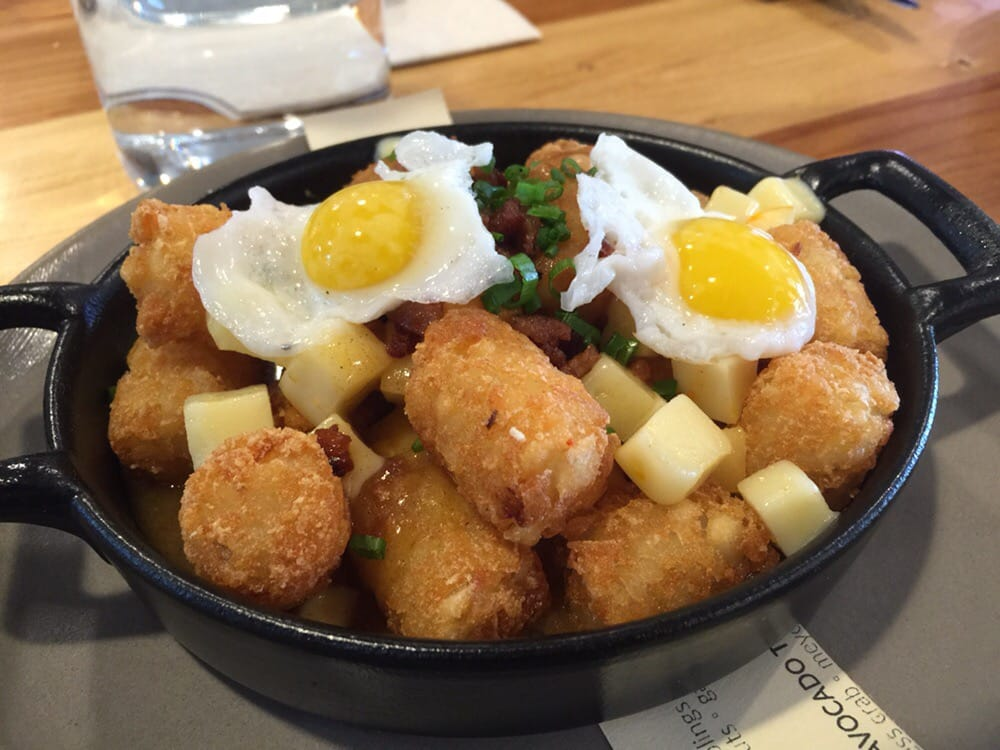 Poutine-ish: Tater tots drizzled with Japanese curry, Gouda cheese ...