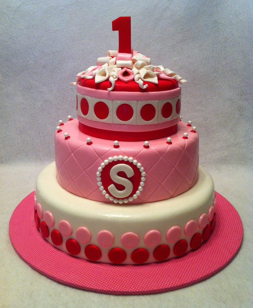 Pretty Pink Red And White Cake For A 1st Birthday Yelp