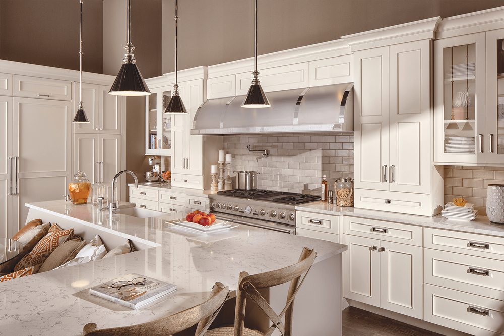 KraftMaid white kitchen cabinets. Updated kitchen ...