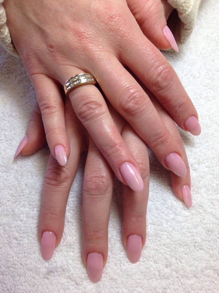 Almond shape real nails silk wrapped with natural pink polish! - Yelp