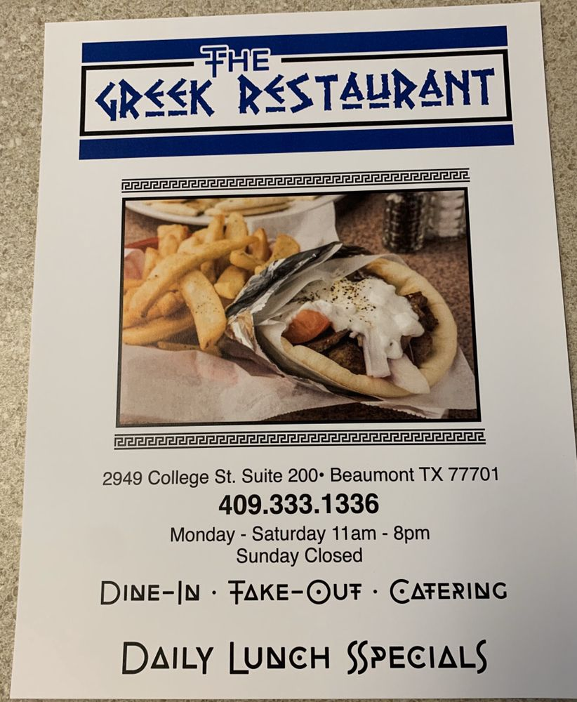 The Greek Restaurant: 2949 College St, Beaumont, TX