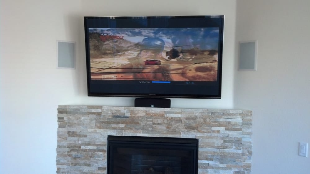 65 Inch Tv Over Fireplace With 5 1 Sound All Equipment