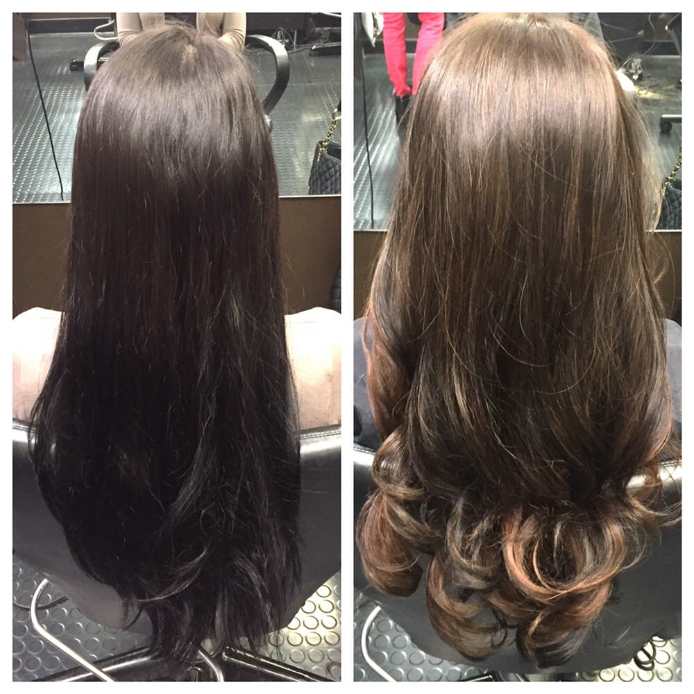 Color correction:Box color black to a med brown balayage ...