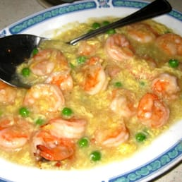 Shrimp with lobster sauce and garlic, green peas, egg (10.3.10) - Yelp