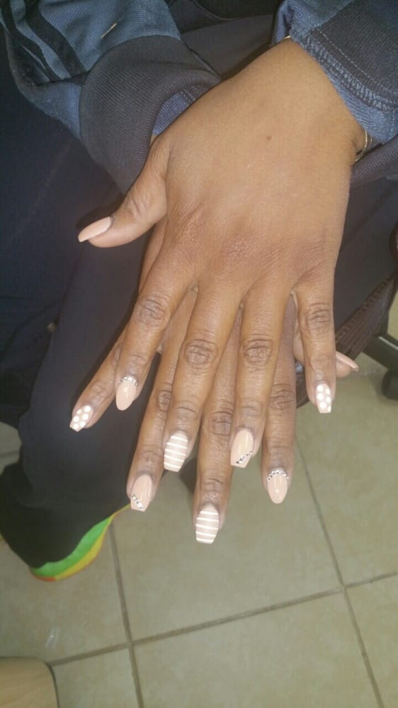 New coffin and almond shape nails with nice design - Yelp