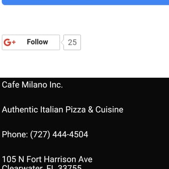 Cafe Milano Clearwater Menu