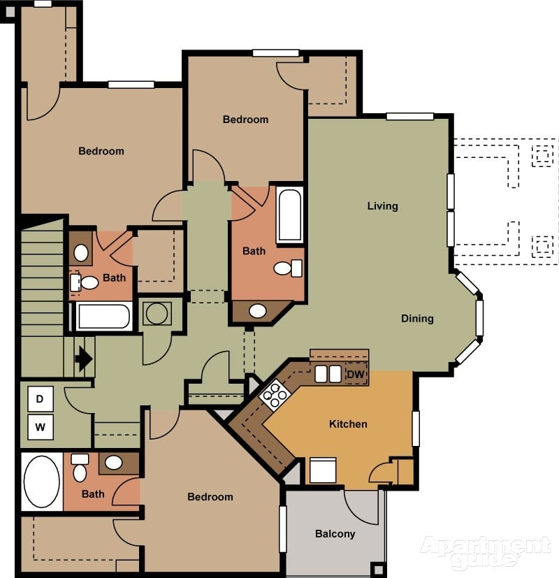 Retreat Apartments: 3 Bedroom 3 Bath 1528 Sqft
