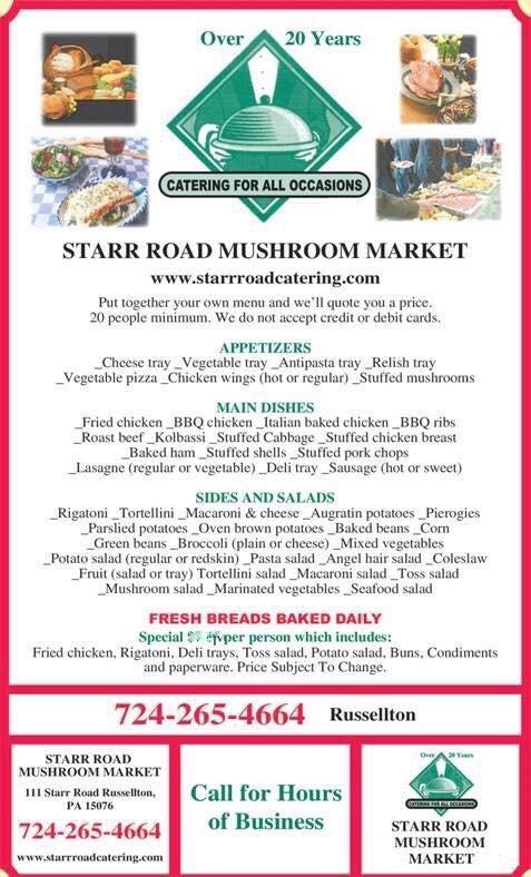 Starr Road Mushroom Market & Catering: 111 Starr Rd, Russellton, PA