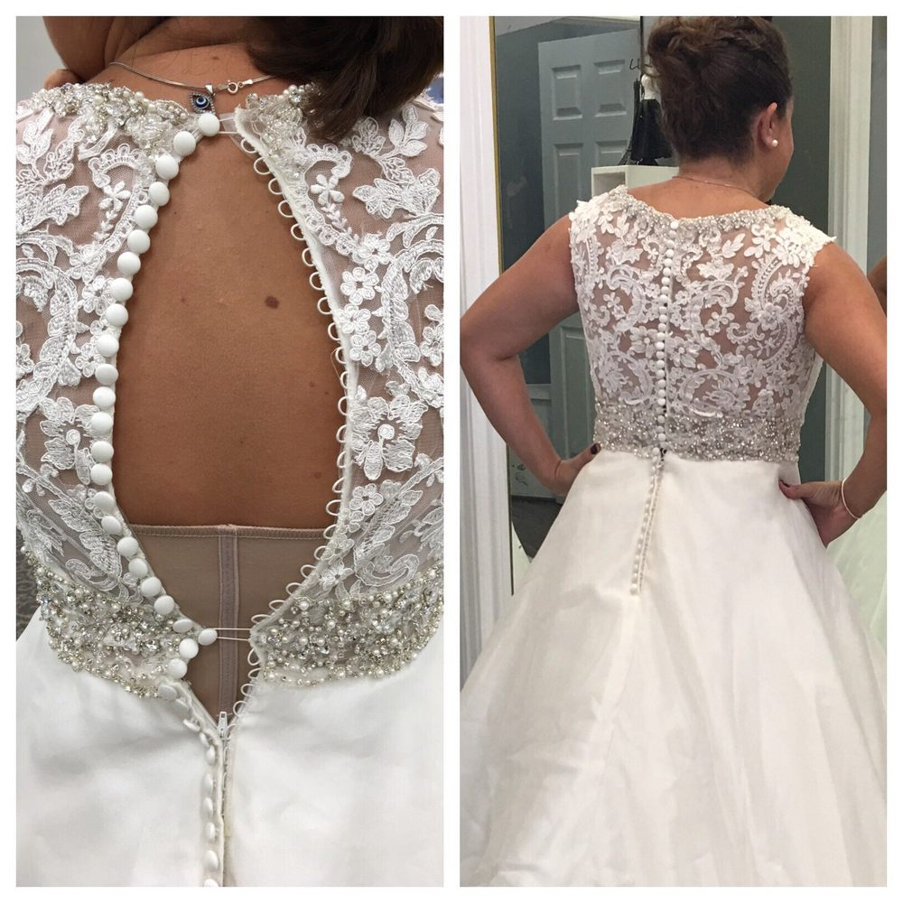 Before and after photos before my wedding dress was too for Wedding dress alterations houston
