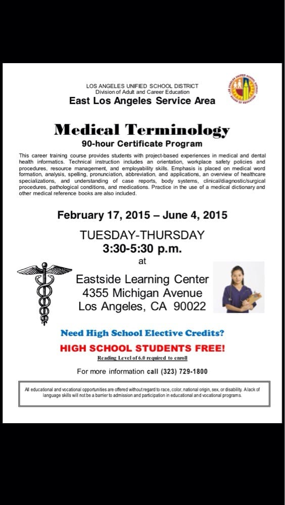For Adults And High School Seniors Medical Terminology Class To