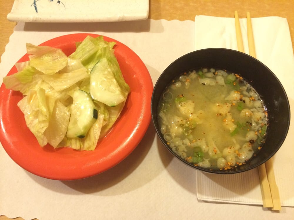 Starters miso soup and house salad yelp for Akasaka japanese cuisine