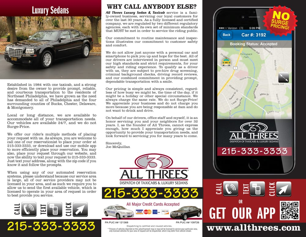 Allthree's Luxury Sedan & Taxicab Service: 8125 Frankford Ave, Philadelphia, PA