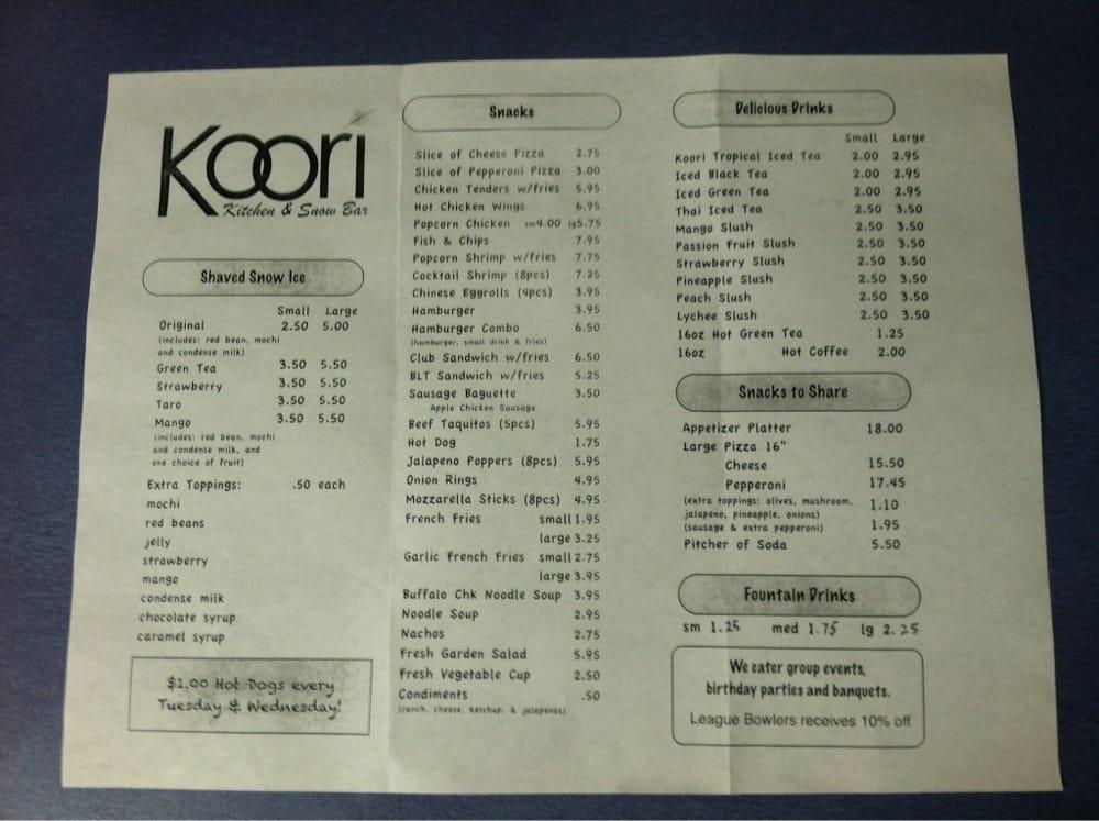 Koori snack bar menu yelp for Snack bar menu