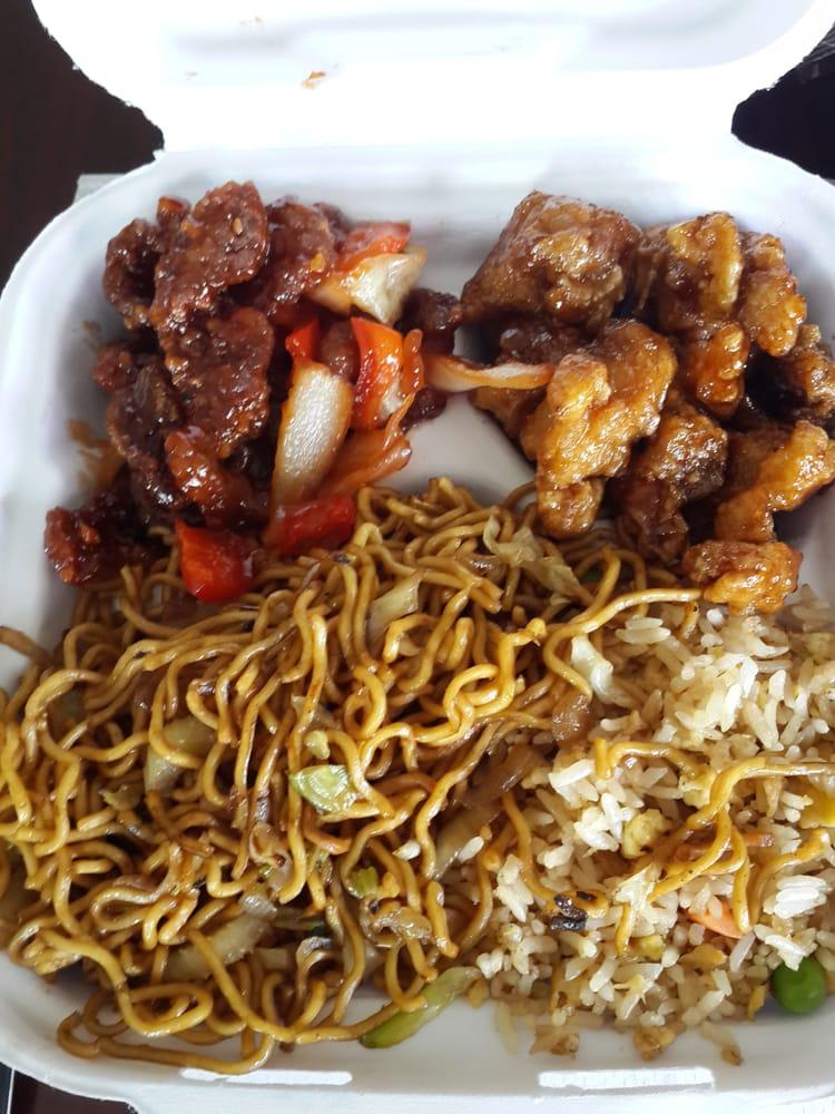 Menu For Olive Garden: 1 Entree, 2 Sides -- 1/2 Chow Mein, 1/2 Fried Rice, Orange
