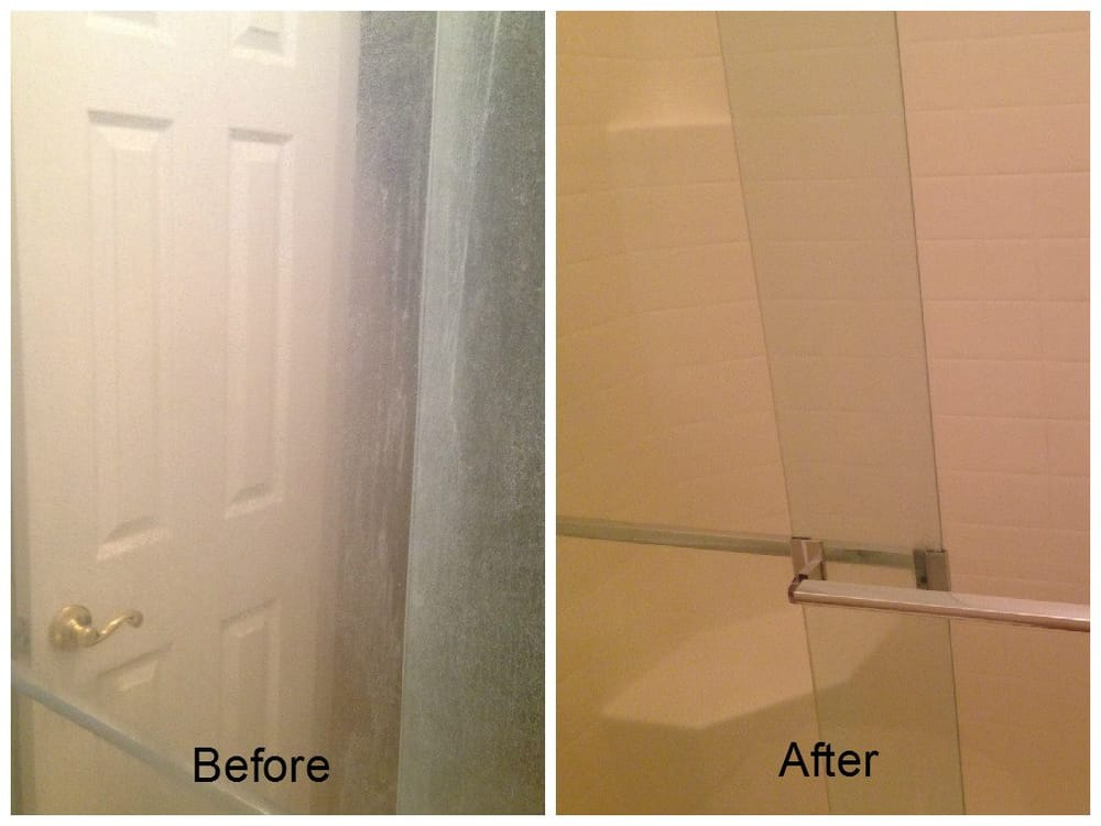 Before and after of glass shower doors with hard water stains - Yelp