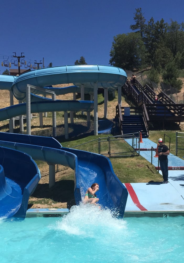 Water slide with stairs to the entrance at the top - Yelp